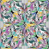 Elegance floral colorful 3d vector seamless pattern. Drapery abstract ornamental silver background. Decorative bright vintage ornament. Abstract paisley Stock Illustration