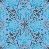 Elegance floral 3d vector seamless mandala pattern. Beautiful light blue ornamental abstract background. Vintage flowers, leaves, swirls. Decor elements with Stock Illustration