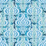 Elegance floral light blue 3d vector seamless pattern. Ornamenta. L abstract antique Baroque style background. Hand drawn vintage flowers, leaves, borders stock illustration