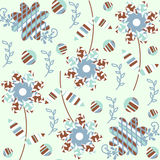 Elegance floral  seamless pattern and seamless pattern in swatch Royalty Free Stock Images