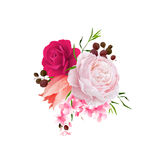 Elegance flowers bouquet of color roses and tulip . Composition with blossom flowers. Vector illustration. Elegance flowers bouquet of color roses and tulip Royalty Free Stock Photos