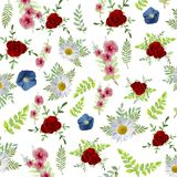 Elegance flowers pattern background. Beautiful flower with watercolor illustration style. Elegance flowers pattern background. Beautiful flower with watercolor Royalty Free Stock Photos