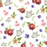 Elegance flowers pattern background. Beautiful flower with watercolor illustration style. Beauty flower style Stock Photography