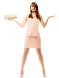 Elegance. Full length of girl with handbag and copy space Royalty Free Stock Photo