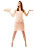 Elegance. Full length of girl with handbag and copy space Royalty Free Stock Photos