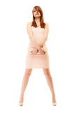 Elegance. Full length of girl in pink dress and with handbag Stock Images