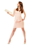 Elegance. Full length of girl in pink dress and with handbag Royalty Free Stock Images