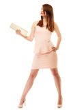 Elegance. Full length of girl in pink dress and with handbag Stock Photos