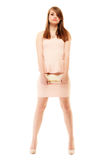 Elegance. Full length of girl in pink dress and with handbag Stock Photography