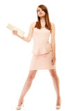 Elegance. Full length of girl in pink dress and with handbag Stock Image