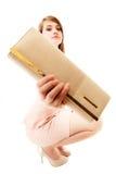 Elegance. Full length of girl showing elegant handbag Royalty Free Stock Photography
