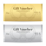 Elegance gift voucher or gift card in gold and silver color Stock Image