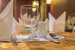 Elegance of glasses on table set up for dinning room. Stock Photography