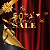 Elegance gold Christmas sale banner poster with page curl design with 50% in golden color on red crumpled satin cloth background. With copy space. EPS10 Vector vector illustration