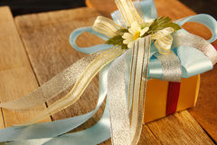 Elegance Golden Gift Box Royalty Free Stock Images