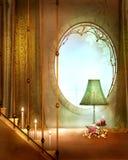 Elegance golden window Stock Image