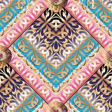 Elegance greek key meanders seamless pattern. Vector geometric b. Ackground. Ornate wallpapers design. Tracery abstract ornaments. Gold pink 3d ornamental Stock Photos