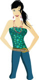 Elegance green. Illustration with elegance woman in green Royalty Free Stock Photo