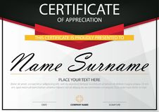 Elegance horizontal certificate with Vector illustration ,white frame certificate template with clean and modern pattern. Presentation royalty free illustration