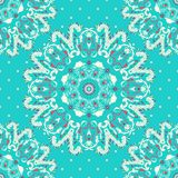 Elegance lace pattern on a blue background with polka dots. Circle ornament, lace. Round pattern. Royalty Free Stock Photos