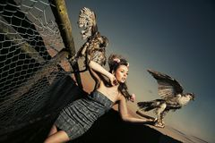 Elegance lady holding eagles. Elegance lady dressed in dress holding eagles royalty free stock photo