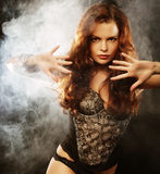 Elegance lady in the lingerie dancing Royalty Free Stock Images