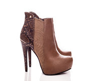 Elegance leather boots Stock Photos