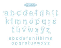 Elegance light blue color embroidery letters Royalty Free Stock Images