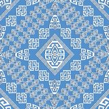 Elegance light blue geometric greek seamless pattern. Vector abstract tribal style ornamental geometric background. Patterned design with geometry shapes Stock Photos