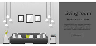 Elegance Living Room Interior Banner For Your Web Design. Stock Photo