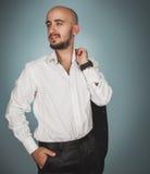 Elegance man in white shirt looking away Stock Photos