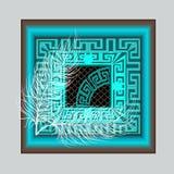 Elegance modern turquoise greek key meander panel pattern. Ornam. Ental abstract beautiful square background. Patterned lace grid lattice backdrop, frames Stock Photo