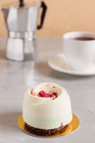 Elegance pastry dessert with raspberries Stock Photos