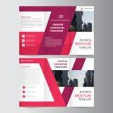 Elegance pink purple geometric elegance business trifold business Leaflet Brochure Flyer template vector minimal flat design. Set Stock Photo