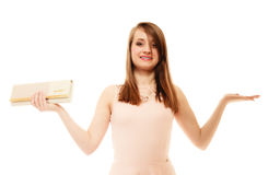Elegance. Portrait of girl with handbag and copy space Stock Photos