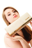 Elegance. Portrait of girl showing elegant handbag Royalty Free Stock Photography