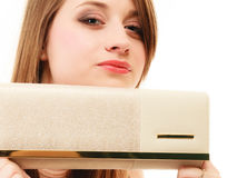 Elegance. Portrait of girl showing elegant handbag Stock Photos
