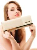 Elegance. Portrait of girl showing elegant handbag Royalty Free Stock Images