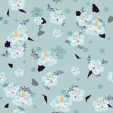 Elegance Seamless pattern with blooming  flowers on sweet green. Mint background,  floral illustration in modern style Royalty Free Stock Photos