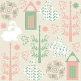 Elegance  seamless pattern with bunny  and seamless pattern in s Royalty Free Stock Photography