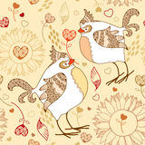 Elegance seamless pattern with cartoon birds on a beige background Royalty Free Stock Photos