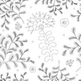 Elegance Seamless pattern with flowers for coloring book Royalty Free Stock Photography