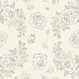 Elegance Seamless pattern with flowers roses Royalty Free Stock Photos