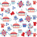 Elegance  seamless pattern with kettle and cup and seamless patt Royalty Free Stock Photo