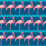 Elegance seamless pattern with pink flamingo Royalty Free Stock Images