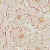 Elegance Seamless pattern with poppy, Royalty Free Stock Photo