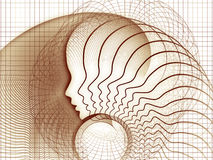 Elegance of Soul Geometry. Geometry of Soul series. Artistic background made of profile lines of human head for use with projects on education, science Royalty Free Stock Photography
