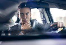 Elegance stylish men in car Stock Photography