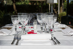 Elegance table set up for dinning room Royalty Free Stock Images