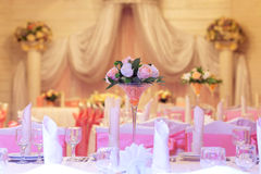 Elegance table set up for wedding in restaurant Stock Image